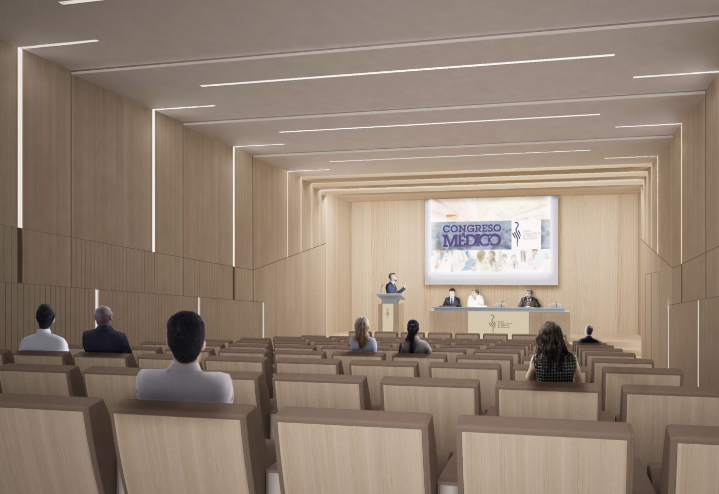 01. salon actos ilustre colegio medicos icomv icom valencia mas millet arquitectura interiorismo acceso conferencias
