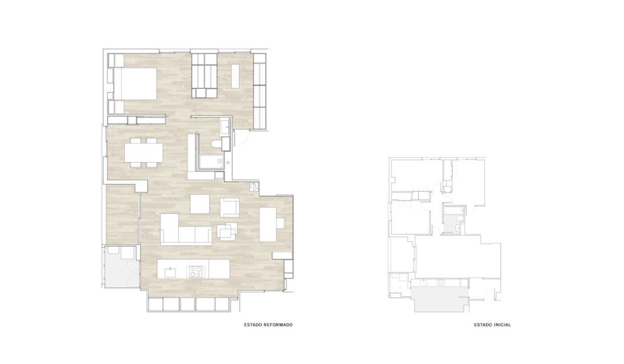 Mas-millet-arquitecto-arquitectura-e-interiorismo-reforma-integral-moderna-piso-valencia-carpintería-de-madera-mobiliario-a-medida-plano-estado-inicial-y-reformado