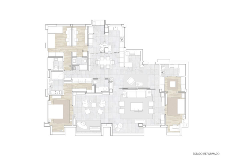 plano estado reformado mas millet arquitectura interiorismo planta reforma piso vivienda unifamiliar moderna valencia