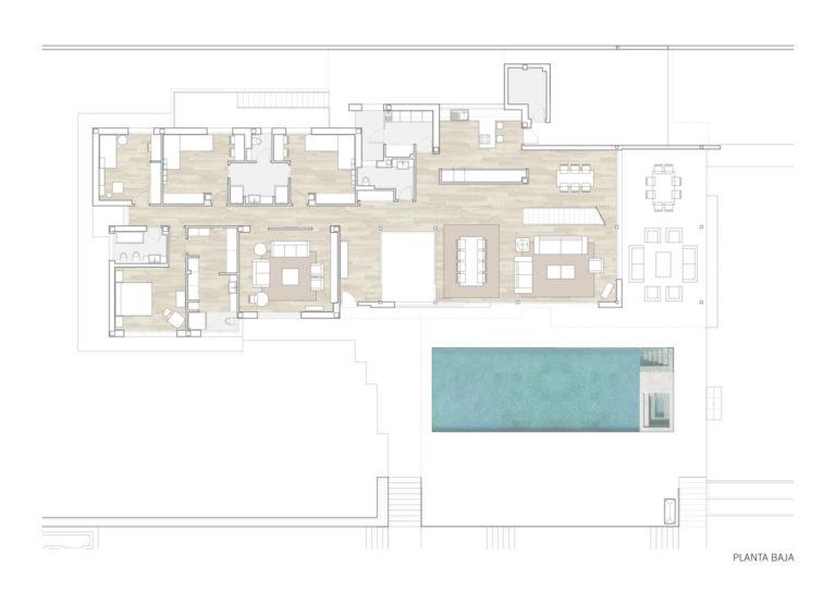 plano planta baja mas millet arquitectura interiorismo obra nueva chalet vivienda unifamiliar moderna valencia
