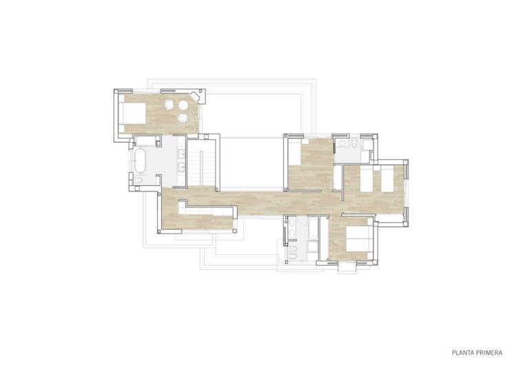plano planta primera mas millet arquitectura interiorismo obra nueva chalet vivienda unifamiliar moderna valencia