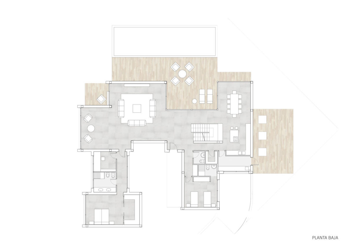 plano planta baja mas millet arquitectura interiorismo reforma chalet vivienda unifamiliar moderna valencia