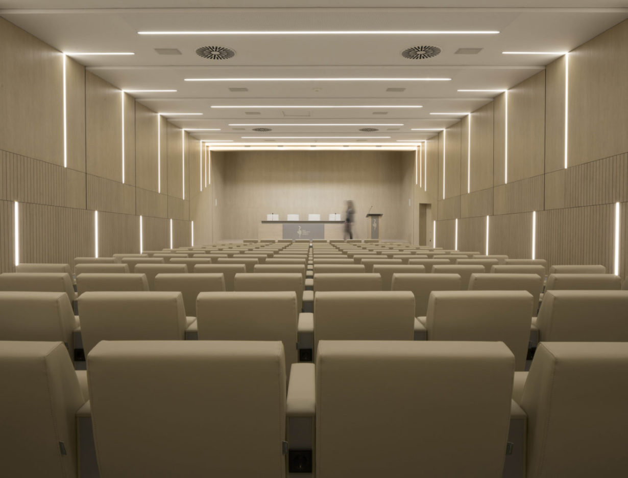 mas millet arquitectura interior reforma sala conferencias colegio medicos valencia mobiliario minimalista flexibilidad luz arquitecto madera calidez led mobiliario butaca led interiorismo