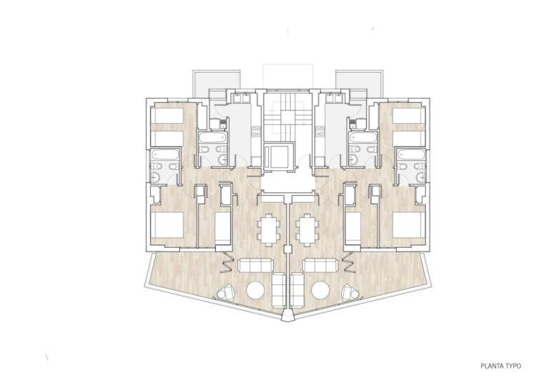 plano planta tipo mas millet arquitectura interiorismo vivienda moderna obra nueva gandia valencia