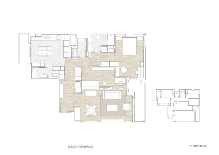 planos planta mas millet arquitectura interiorismo reforma piso vivienda moderna valencia