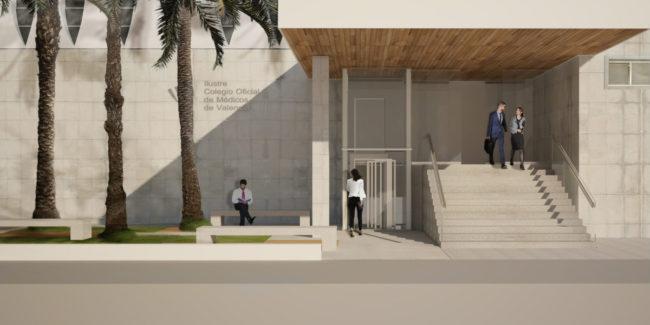 01 mas millet arquitecturan interirorismo arquitecto valencia acceso colegio medicos adaptado minusvalidos discapacitados jardin