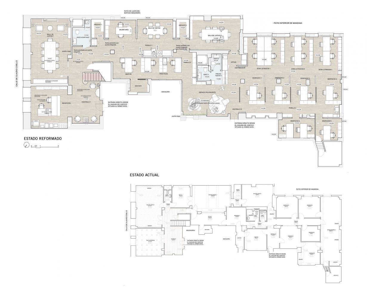 Planta-Bufete-Mas-y-Calvet-reforma-despacho-abogados-Mas-Millet-Arquitectos-en-Madrid